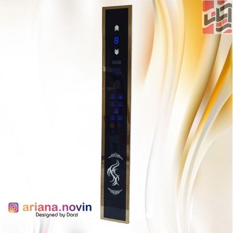 پنل شستی داخل کابین لمسی با قاب استیل طلایی